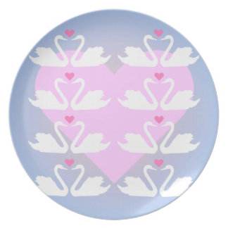 Swans and Hearts Pattern Plate
