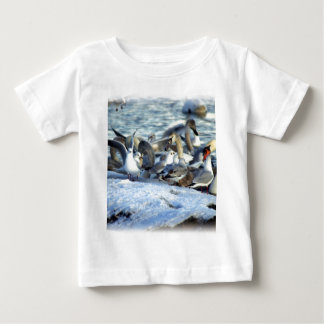 Swans and Seagulls in Winter Baby T-Shirt