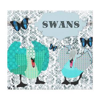 Swans Blue Boho Art Canvas Canvas Print