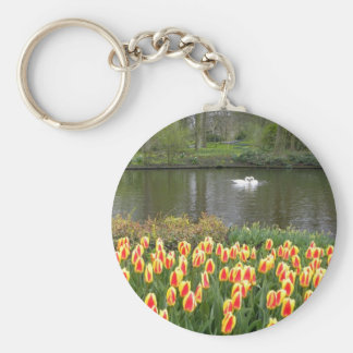 Swans by a lake with tulips, Keukenhof Key Ring