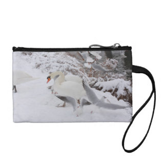 swans by the snowy riverside coin wallets