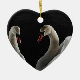 Swans Ceramic Heart Decoration