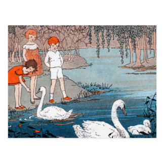Swans Children Vintage Lake Scene Postcards