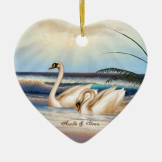 Swans Couple - Love - Heart shaped Ornament