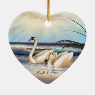 Swans Couple - Love - Heart shaped Ornament