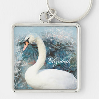 Swans floral swirls | PERSONALIZE Silver-Colored Square Keychain
