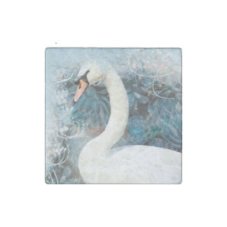 Swans floral swirls | PERSONALIZE Stone Magnet