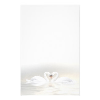 Swans heart stationery paper