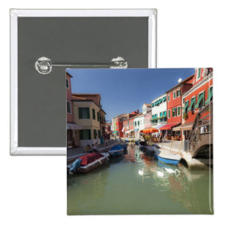 Swans in canal, Burano Island, Venice, Italy 2 15 Cm Square Badge