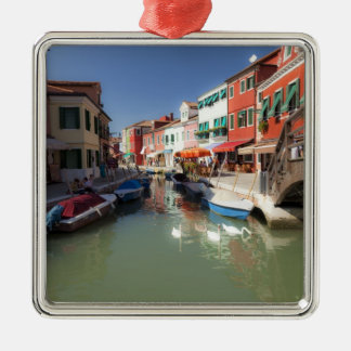 Swans in canal, Burano Island, Venice, Italy 2 Silver-Colored Square Decoration