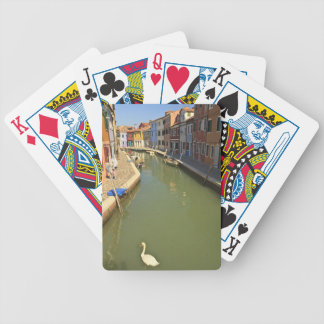 Swans in canal, Burano Island, Venice, Italy Bicycle Playing Cards