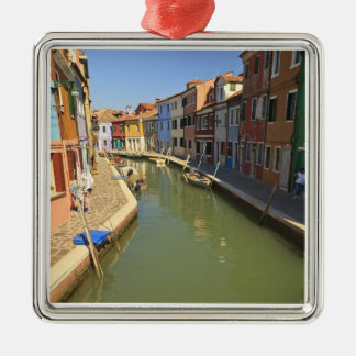 Swans in canal, Burano Island, Venice, Italy Christmas Ornament