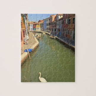 Swans in canal, Burano Island, Venice, Italy Jigsaw Puzzle