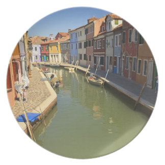 Swans in canal, Burano Island, Venice, Italy Plate