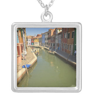 Swans in canal, Burano Island, Venice, Italy Silver Plated Necklace