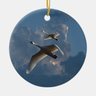 SWANS IN FLIGHT CHRISTMAS ORNAMENT