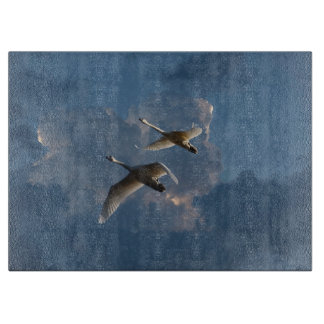 SWANS IN FLIGHT CUTTING BOARD