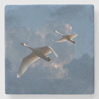 SWANS IN FLIGHT STONE COASTER