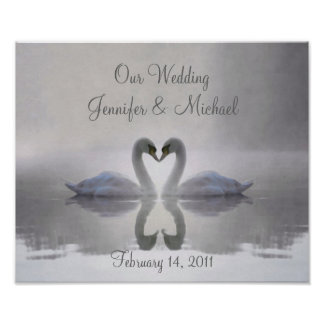 Swans in Love ~ Poster / Personalised Wedding
