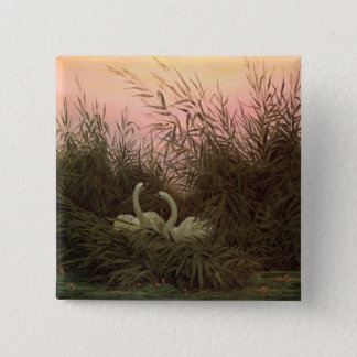 Swans in the Reeds, c.1820 15 Cm Square Badge