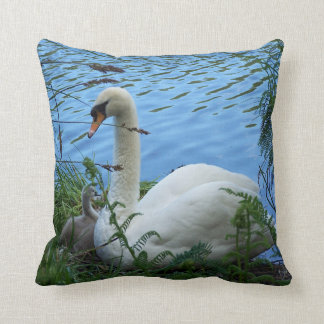 Swans Nest Mother Swan and Cygnet Cushion