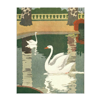 Swans on Castle Lake Gallery Wrapped Canvas