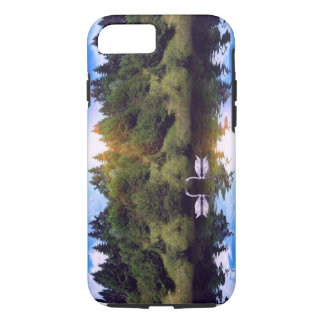 Swans on river, forest at sunrise iPhone 7 case