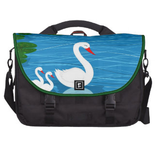 Swans on the lake commuter bag