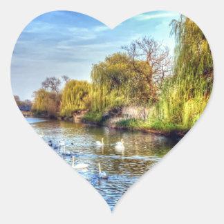 Swans on the River Nene HDR Heart Sticker
