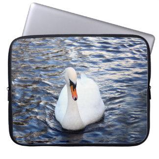 Swans on water laptop sleeve