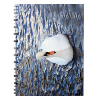 Swans on water notebook