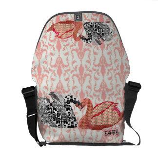 Swans Pink Damask Love Messenger Bag