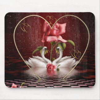 Swans Roses Hearts Scene 1 Mouse Pads