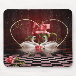 Swans Roses Hearts Scene 1A Mouse Pads