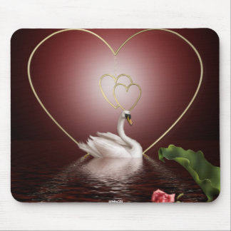Swans Roses Hearts Scene 2 Mouse Mat