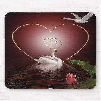 Swans Roses Hearts Scene 2A Mouse Pad