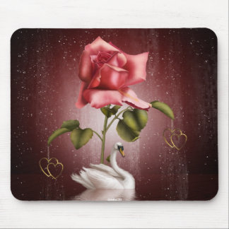 Swans Roses Hearts Scene 3 Mouse Mat