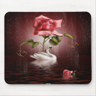Swans Roses Hearts Scene 3A Mouse Mat