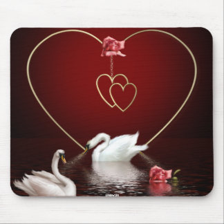 Swans Roses Hearts Scene 4 Mouse Pad