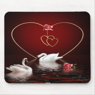 Swans Roses Hearts Scene 4A Mouse Pad