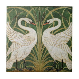 Swans, Rush & Iris by Walter Crane Small Square Tile