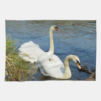 Swans Tehidy Country Park Cornwall England Tea Towel