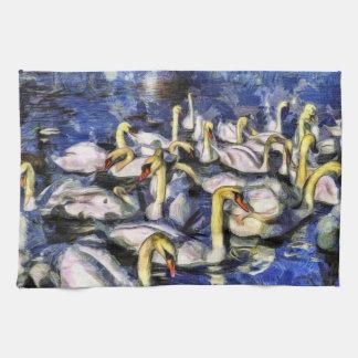 Swans Vincent Van Gogh Tea Towel