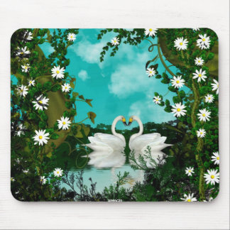 Swans Water Flower Scene 1 Mouse Pad