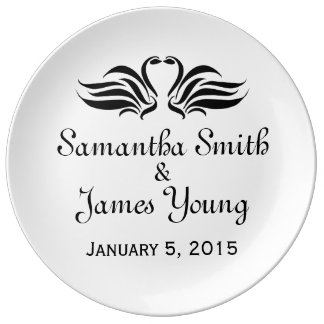 Swans Wedding Memento Plate
