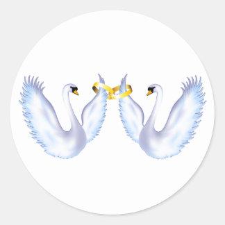 Swan's Wedding Round Sticker