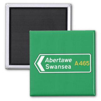 Swansea, UK Road Sign Square Magnet