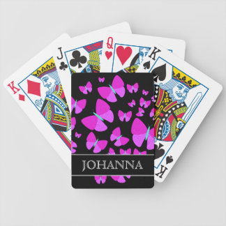 Swarm of Artistic Butterflies + Custom Name Bicycle Playing Cards