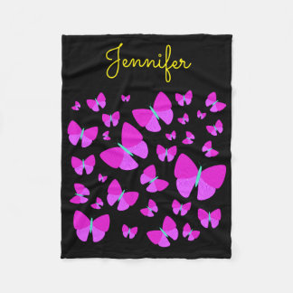 Swarm of Artistic Butterflies + Personalized Name Fleece Blanket