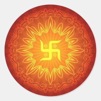 Swastika Decorative Design Round Sticker